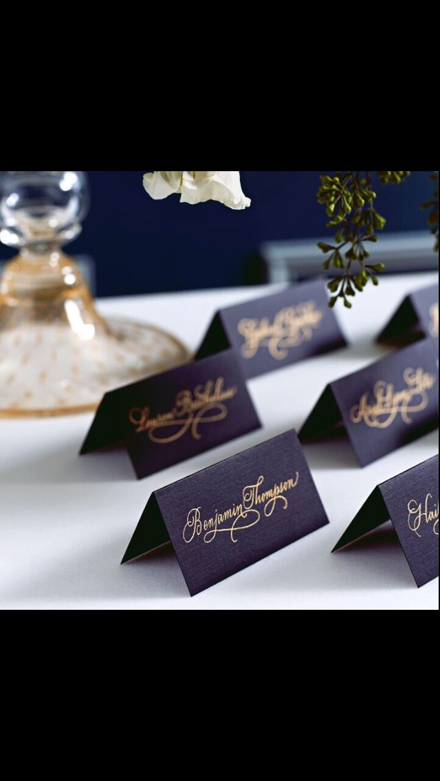 Placement cards - navy with gold script