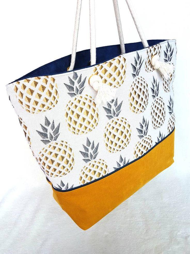 Maxi sac cabas SWEETY fait main bi-matiere en jacquard motifs ananas graphiques et en velours moutarde. Sac zippé avec anse corde. de la boutique LNHKcreations sur Etsy