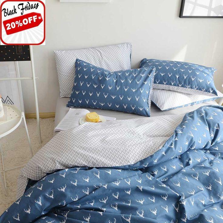 highbuy kids boys bedding duvet cover set twin cotton reversible christmas deer pattern grey teen girls