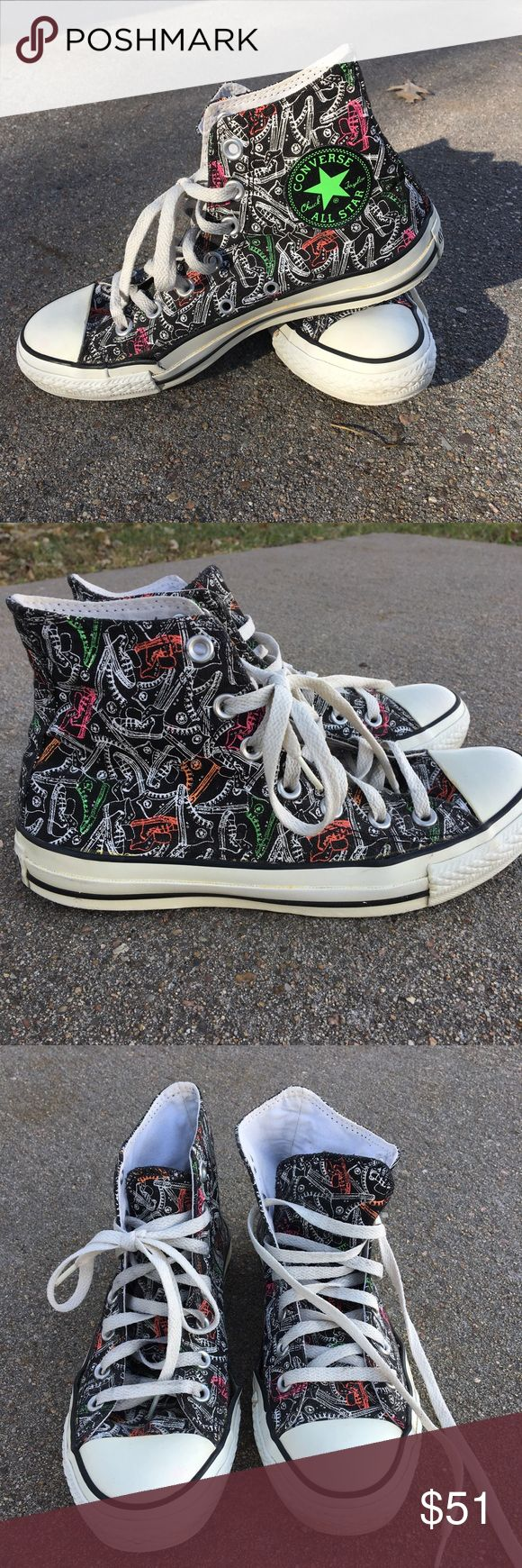 Converse Hard To Find Black & Neon Converse, hard to find style, Black high tops with white & neon Converse print. The only issue that I can see is a split on the inside of each shoe approx. where your big toe starts(as shown on the last pic). Size 8 women's & 6 men's.  🚭Smoke Free Home Converse Shoes