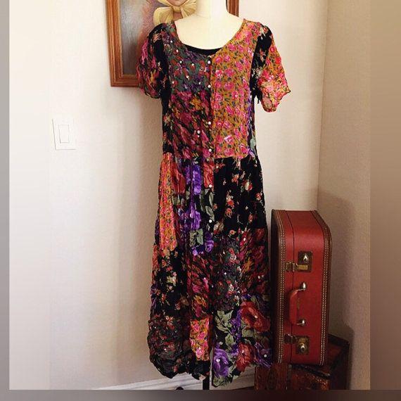 90s sheer patchwork grunge dress/ 1990's vintage rayon gauze ragdoll boho midi/maxi dress/ small medium