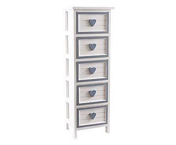 Cassettiera a 5 cassetti in legno bianco/azzurro - 32x92x27 cm