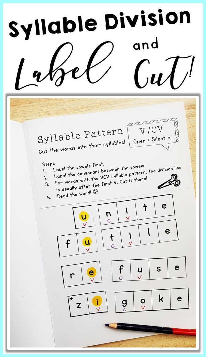 Pin On Crafts For Kids Vcv syllable division worksheets
