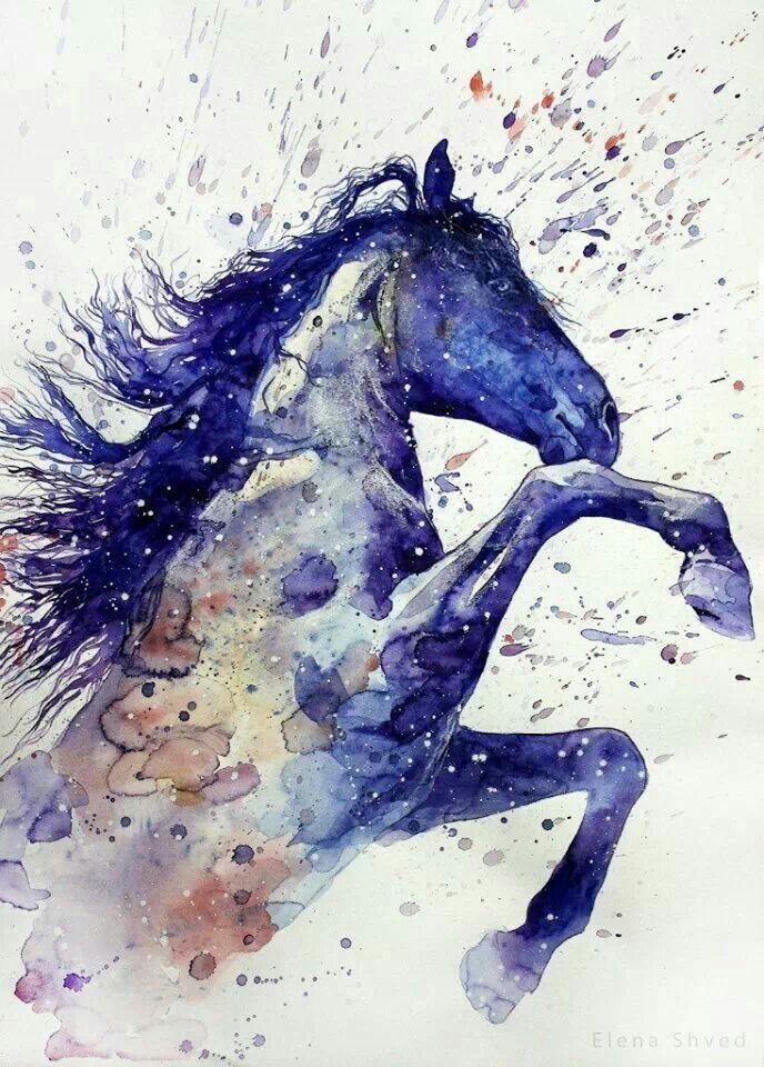 watercolor art #bluehorse
