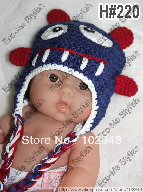 Handmade Crochet Beast Caps Knitted Baby Boy Beanie Monster Hat in dark Blue for Christmas gifts and Photography Prop