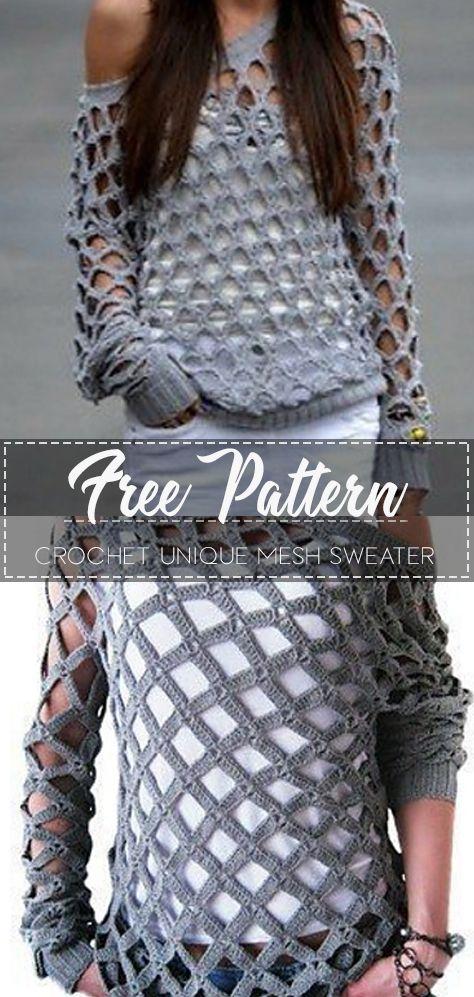 Crochet Unique Mesh Sweater – Free Pattern