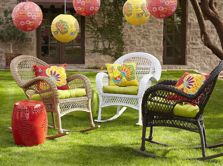 """Nothing says """"alfresco elegance"""" like wonderful wicker and lively colors, and Pier1 imports has some great garden decor inspirations for the coming spring and summer season. By decking out..."""