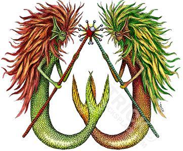 Mermaids with Staffs (dueling). Artwork by 'Trick. TricksPlace.com