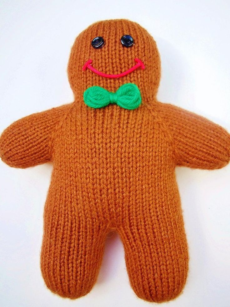 A knitting pattern for a Gingerbread Man toy - customise yours by knitting wh...