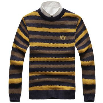 Mens Autumn Winter O-neck Pullover Sweater Stripe Personality Slim Fit Knitwear