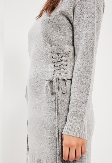 Grey Lace Up Slouchy Midi Dress - Missguided