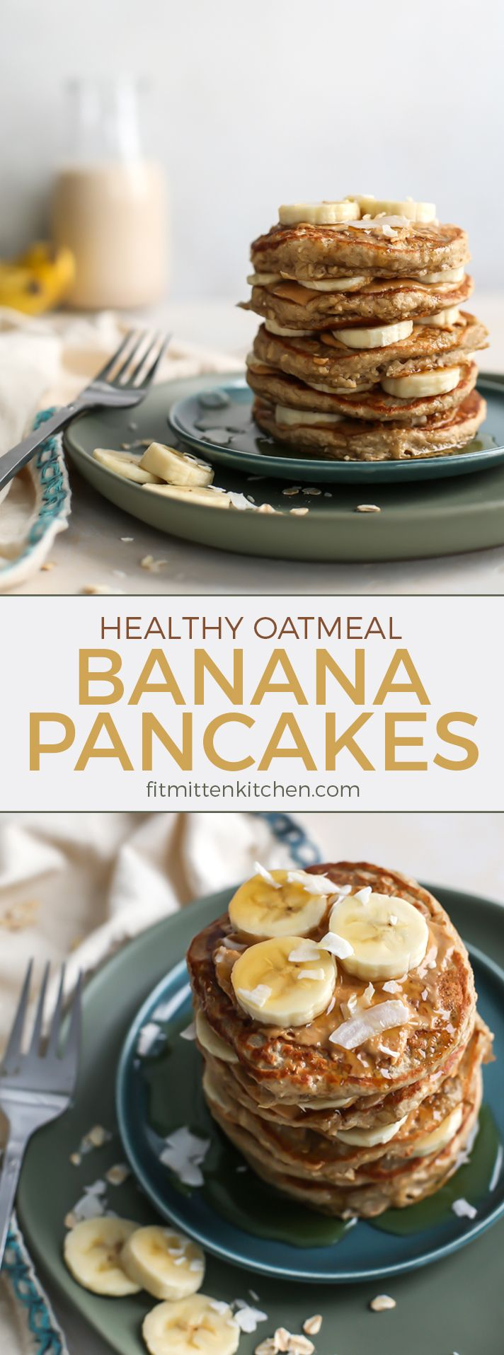 Oatmeal Banana Pancakes made healthy with oats, bananas, unsweetened non-dairy milk and no added sugar. Gluten-free friendly and you can even sub flaxseed meal in place of the egg for vegan friends. Perfect for slow weekend mornings but freezer-friendly for weekdays too! | fitmittenkitchen.com #pancakerecipes #healthypancakes #bananapancakes #glutenfreefrecipes