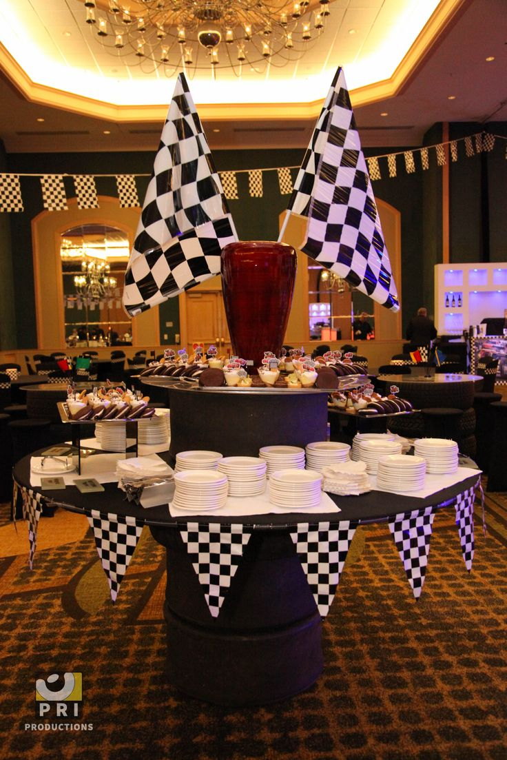 Checkered pennant banner for a race or nascar themed dinner party.