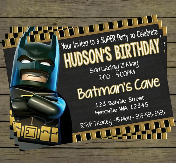Batman Digital Birthday Invitation  Hero by PYOpartyinvites