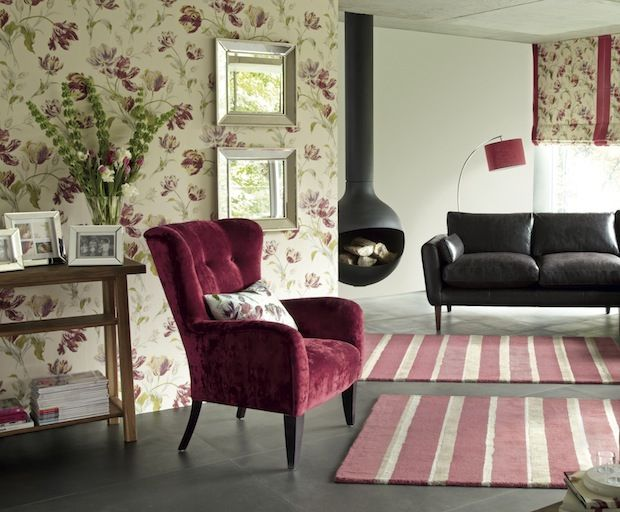 Creative Ways To Use Wallpaper Laura Ashley Wallpaper And - Laura ashley living room purple