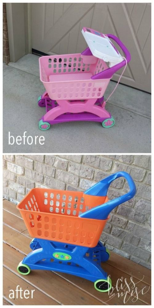 Free is sometimes good, especially in the case of this Plastic Shopping Cart Makeover. Little Tikes and Step2 Upcycle Ideas on Frugal Coupon Living - Recycle your kids toys and turn them into something fun and new!