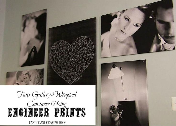 Faux Gallery Wrapped Canvases using Staples Engineer prints and foam insulation panels - {Knock It Off DIY Project} - East Coast Creative Blog