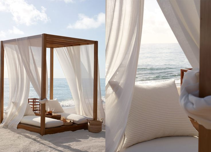 Statement Spaces - Design Chic - beautiful bed for the beach house - love the sheers