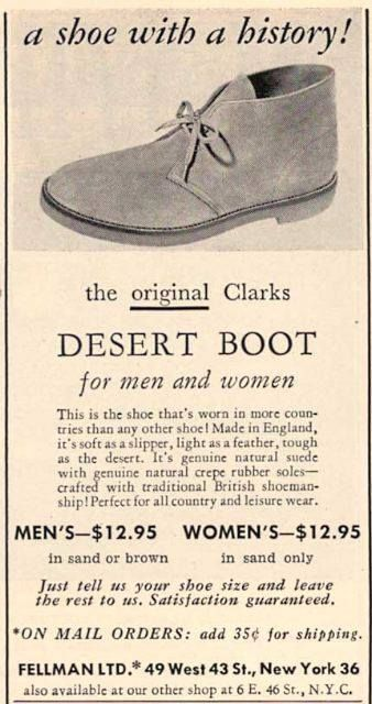 Clarks Desert Boots (1960s). This makes me think of Berlin, the basic style of leather-wear~