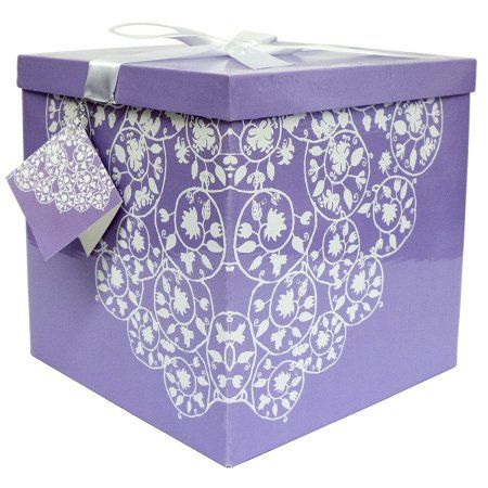 Gift Box 10 inchL x 10 inchW 10 inchH - Easy to Assemble & Reusable - No Glue Required - Ribbon, Tissue Paper, and Gift Tag Included - Cassandra Collection - EZ Gift Box by Endless Art US