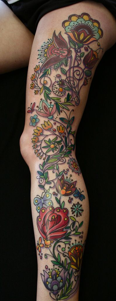 IMG_0114 | leg sleeve flowers | Star City Tattoo & Body Piercings | Flickr