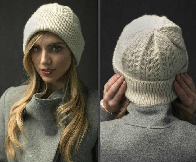 Женская шапка спицами с отворотом WayWorn — DIYDIY.ru вязание: описание, схемы, видео, мастер классы
