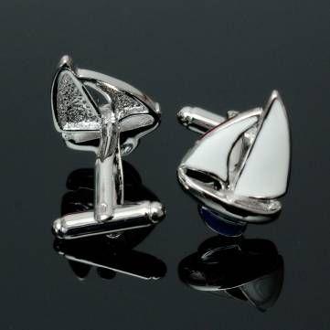 Men Male Silver Sailing PatternCufflinks Retangular Stainless Steel Wedding Gift Attire Accessories at Banggood