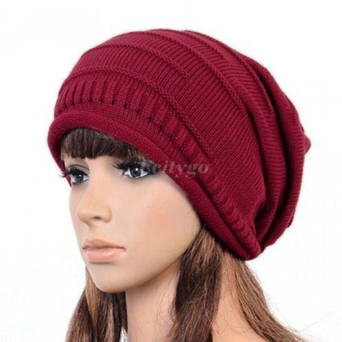winter Knitted baggy crochet beanie