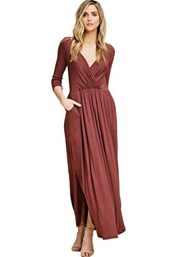 0673d0e510f4 Large (or medium) - Annabelle Women's Solid Print Maxi Dress Featuring  V-Neck