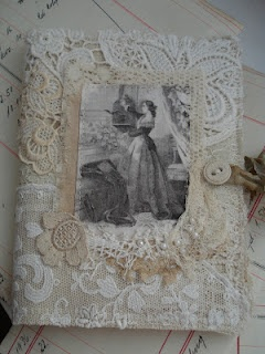 Decorate mirror or frame with doilies and lace