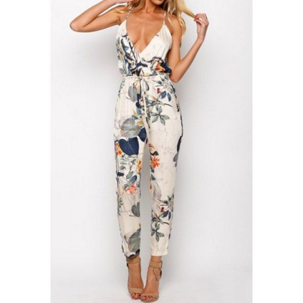 $12.99 Stylish Spaghetti Strap Floral Print Backless Jumpsuit For Women @twinkledeals