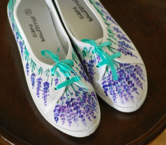 Hand-painted canvas shoes with lavender size 40 by AKArtCrafts
