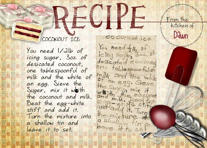 Coconout Ice - I came across this recipe in my mother's cookbook after she died, it was written by me obviously before I learnt how to spell coconut!
