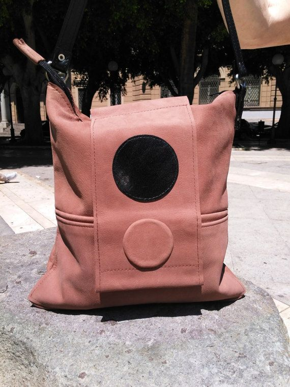 City bag in Nabuk tabacco e pelle nera by BagsbyMaCo on Etsy