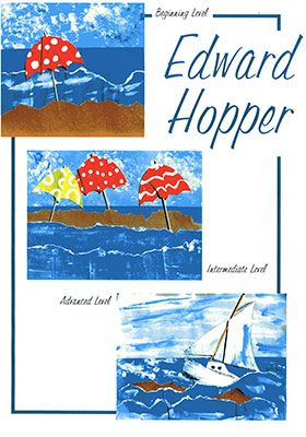 Hopper Art Projects for Kids:  American artist, Edward Hopper, simply and beautifully painted his love of the sea, countryside, and city life.  The students take his simple lines and colors and create a seascape in his style with paint and paper collage.