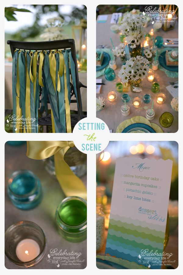 Party details for outdoor entertaining at a Dessert Under the Stars Party {Outdoor Party Ideas + Desserts}, ribbon chair accents, colored mason jars, ombre menu, candles in glass jars, creative use of baby jars