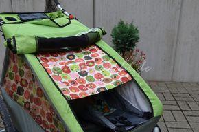Kopfstütze für den Babyeinsatz, Reißerschlusstasche und Sonnenschutz für den Croozer Fahrradanhänger selbst genäht.
