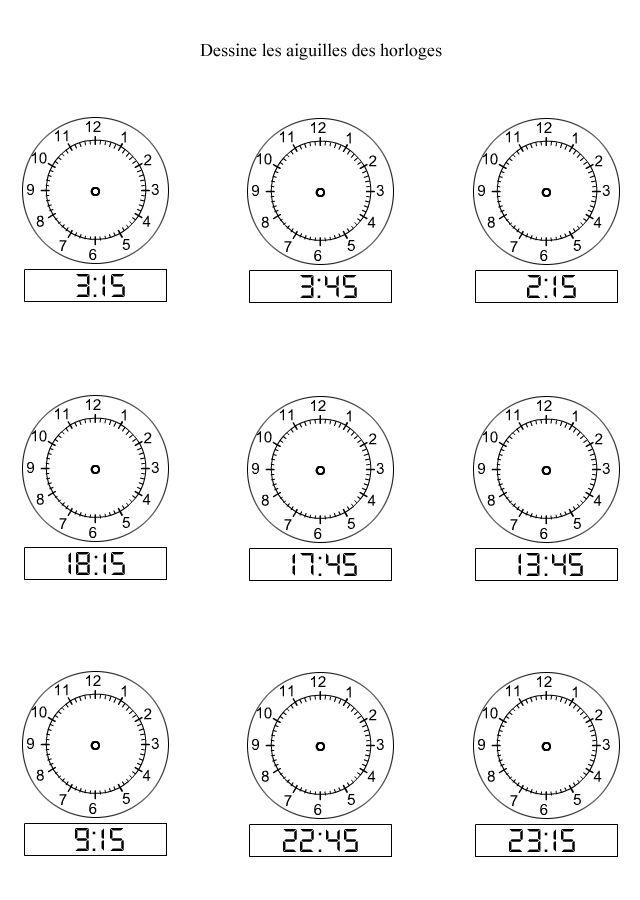 De l'affichage numérique à l'affichage analogique - les quarts d'heure