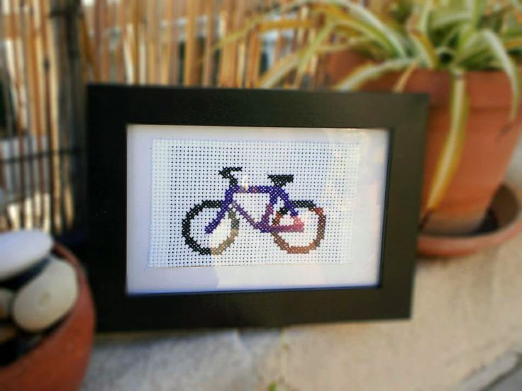 Cross stitch. Bike!