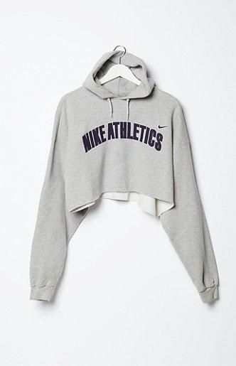 Retro Gold Vintage Nike Cropped Fleece Hoodie Sweatshirt at PacSun.com from PacSun. Saved to Tops. #adorbs.