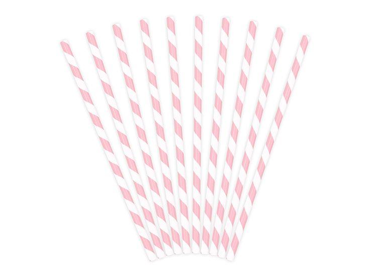 10pailles rétro en papier à rayures rose clair, pour un anniversaire, un mariage, une communion ou un baptême… Idéales également pour décorer une Sweet Table ! Elles peuvent aussi être utilisées pour décorer une table, jouer au mikado ou en guise de baguette magique ! Les pailles en papier mesurent 20 cm et sont biodégradables.