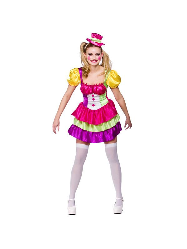 Adult Womens Sexy Cute Clown Circus Party Halloween Fancy Dress Costume New