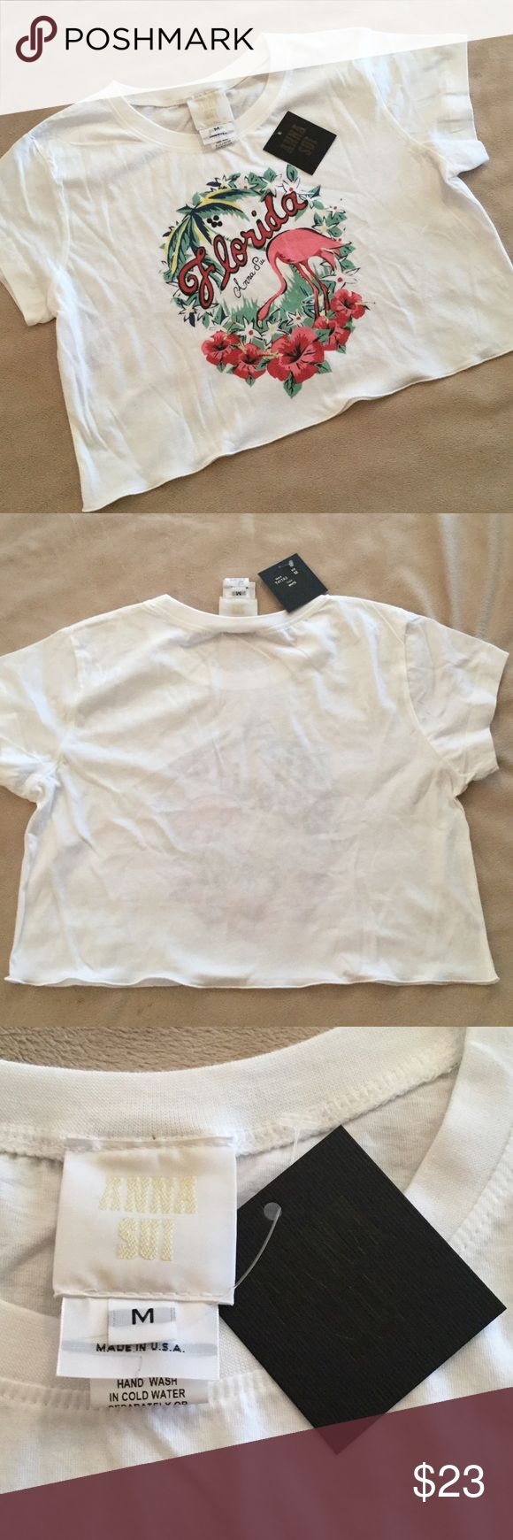 NWT Anna Sui crop reasonable offers 💥 NWT White crop tee Anna Sui. Smoke free home Anna Sui Tops Crop Tops