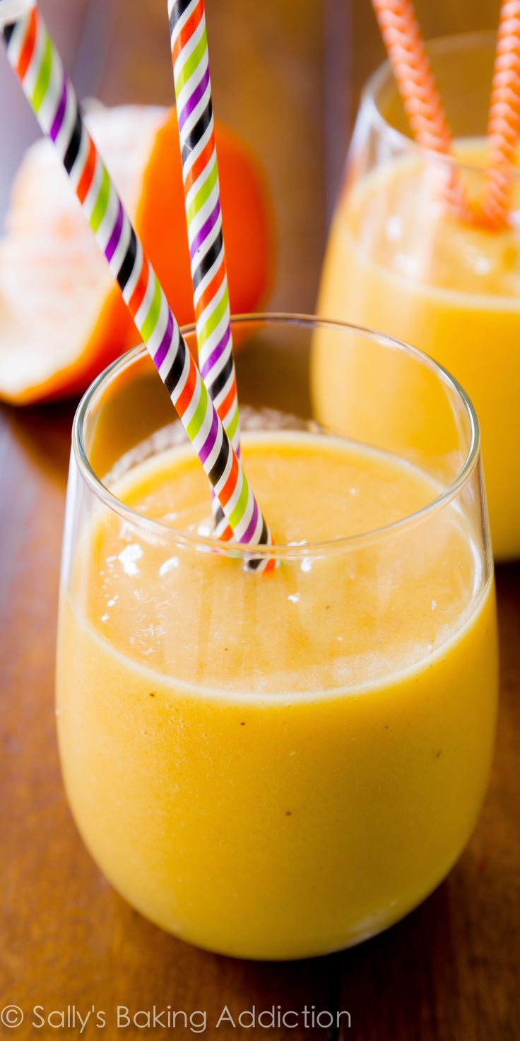 Sunshine Smoothie - this creamy smoothie tastes like a tropical mango-pineapple version of an orange julius!