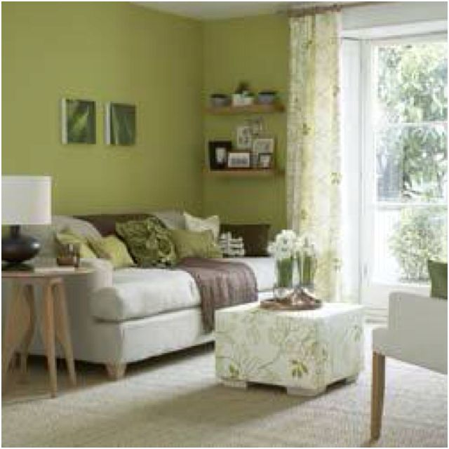 Olive green living room possibly for the home Living room ideas with light green walls