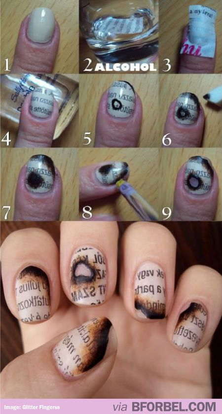 Burnt Newspaper Nails.  So cool. Makes me think of Fahrenheit 451 or Book Thief.