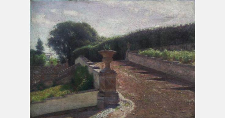 """Aleksander Gierymski, """"Park włoski"""", 1895, olej, płótno, 54 x 75, fot. Muzeum Ślaskie w Katowicach"""