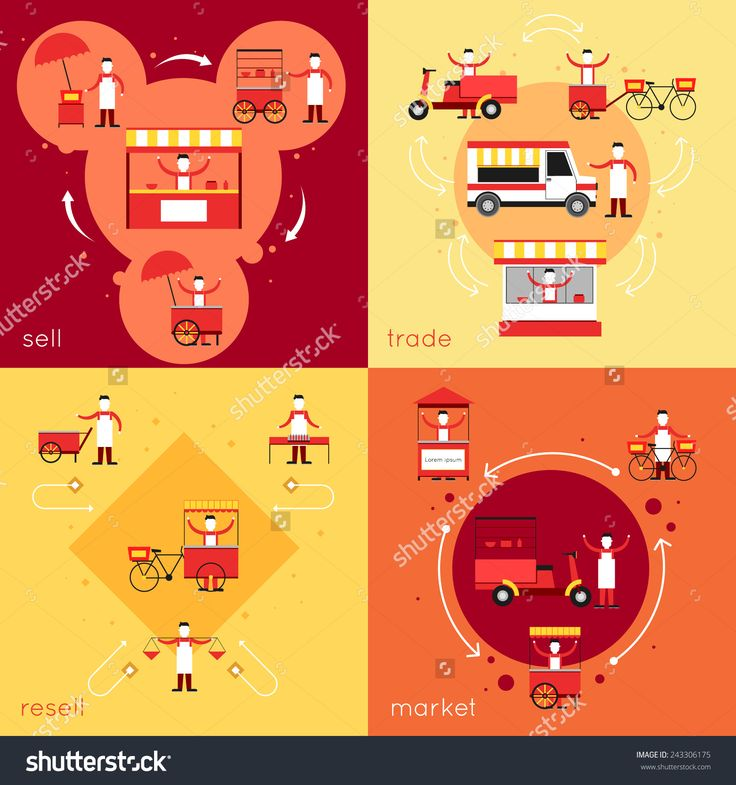 Street Fast Food Flat Icons Set With Resell Sell Market Trade Isolated Vector Illustration - 243306175 : Shutterstock