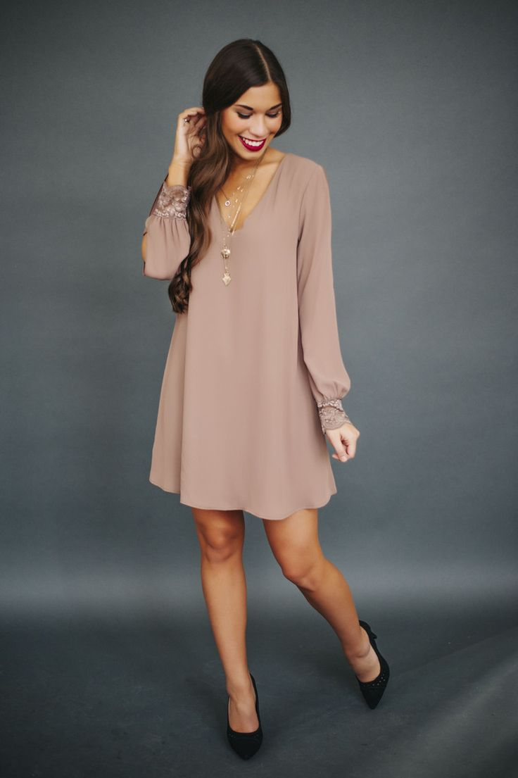 Chiffon Long Sleeve V Dress- Taupe - Dottie Couture Boutique