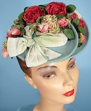 "1939 Light Blue Felt ""Tilt Top"" Hat with Roses from I. Magnin & Co. Importers."
